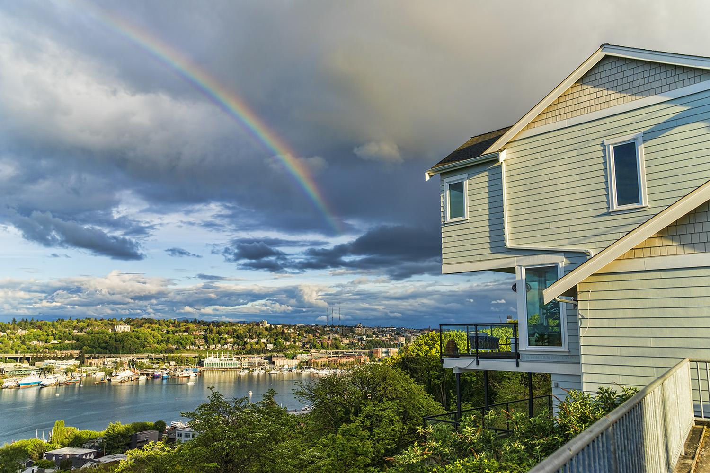 Rainbow over Lake Union, Seattle. (April 2021)